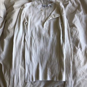 Helmut Lang white rib Henley longsleeve medium